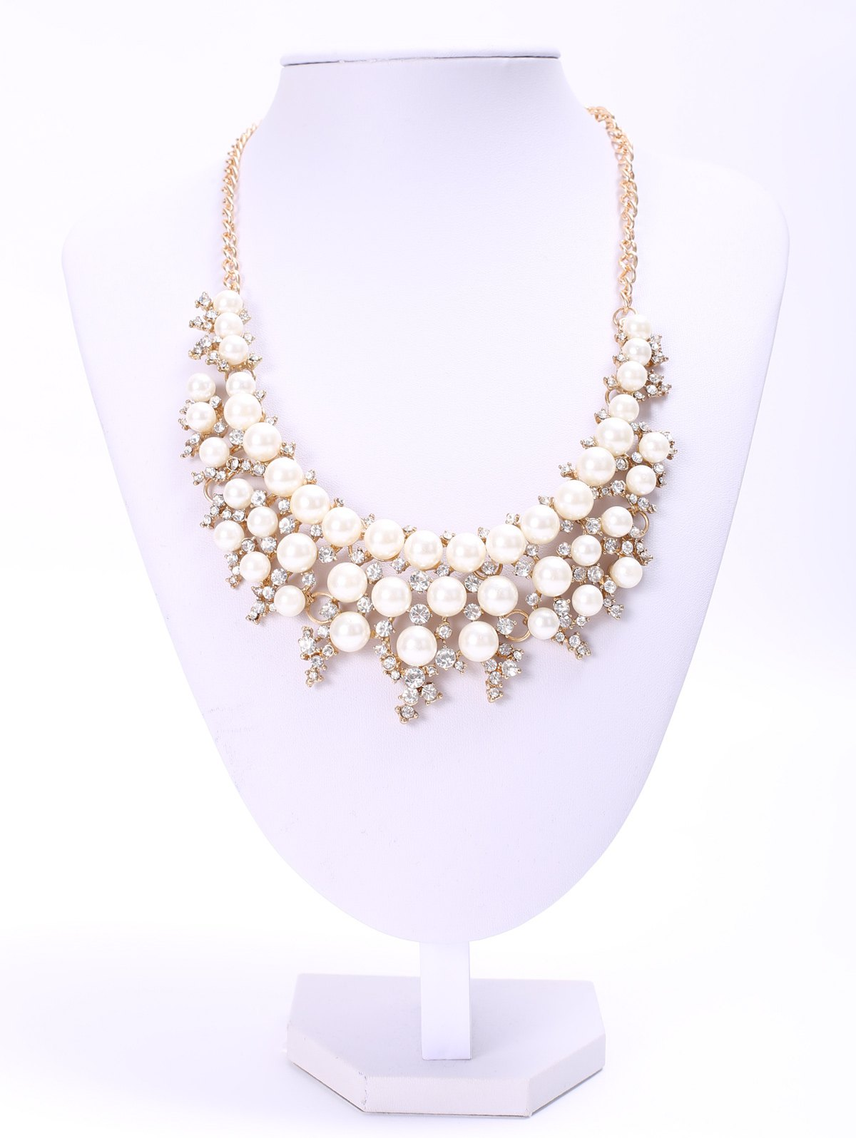 Elegant Three-Layered Faux Pearl Rhinestone Necklace For Women