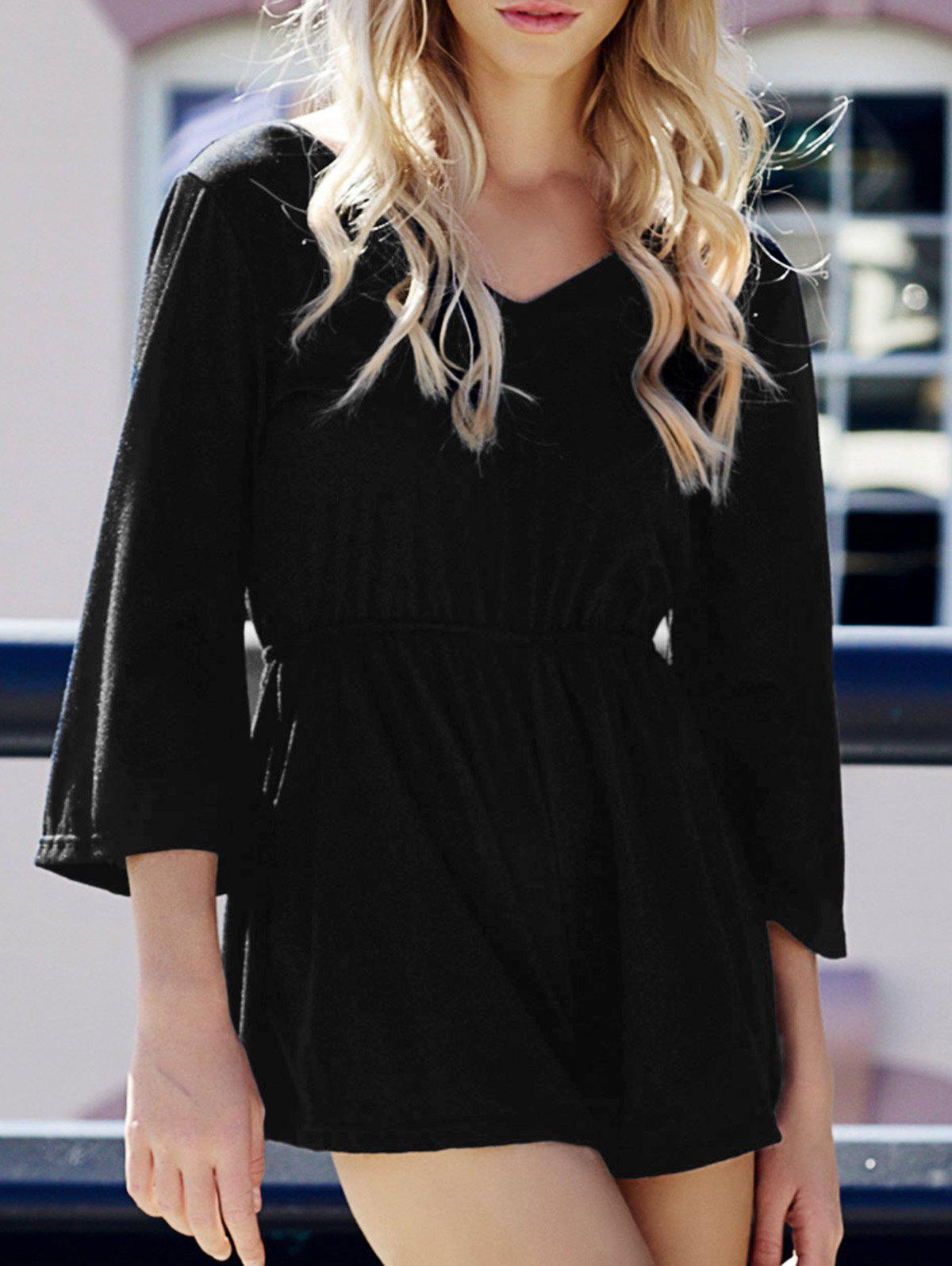 Stylish Women's V-Neck Flare Sleeve Solid Color Backless Romper - BLACK L