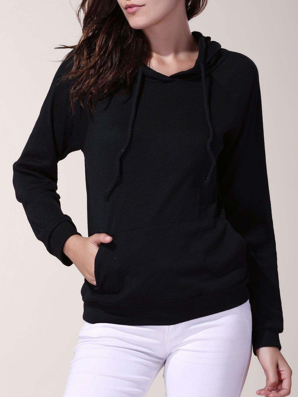 Stylish Hooded Solid Color Long Sleeve Loose Hoodie For Women - BLACK 2XL