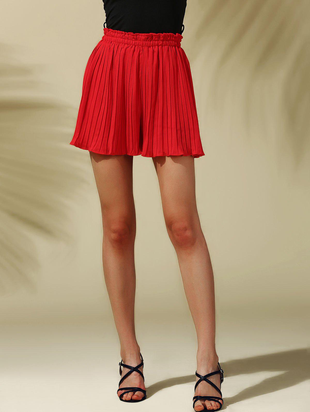 Sweet Women's Elastic Waist Pleated Skirt Shorts - RED ONE SIZE(FIT SIZE XS TO M)