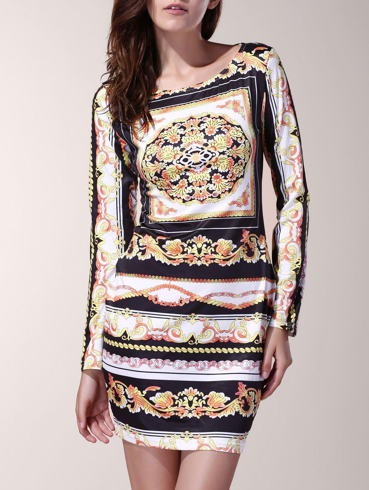 Vintage Floral Print Slash Neck Long Sleeve Dress For Women - COLORMIX S