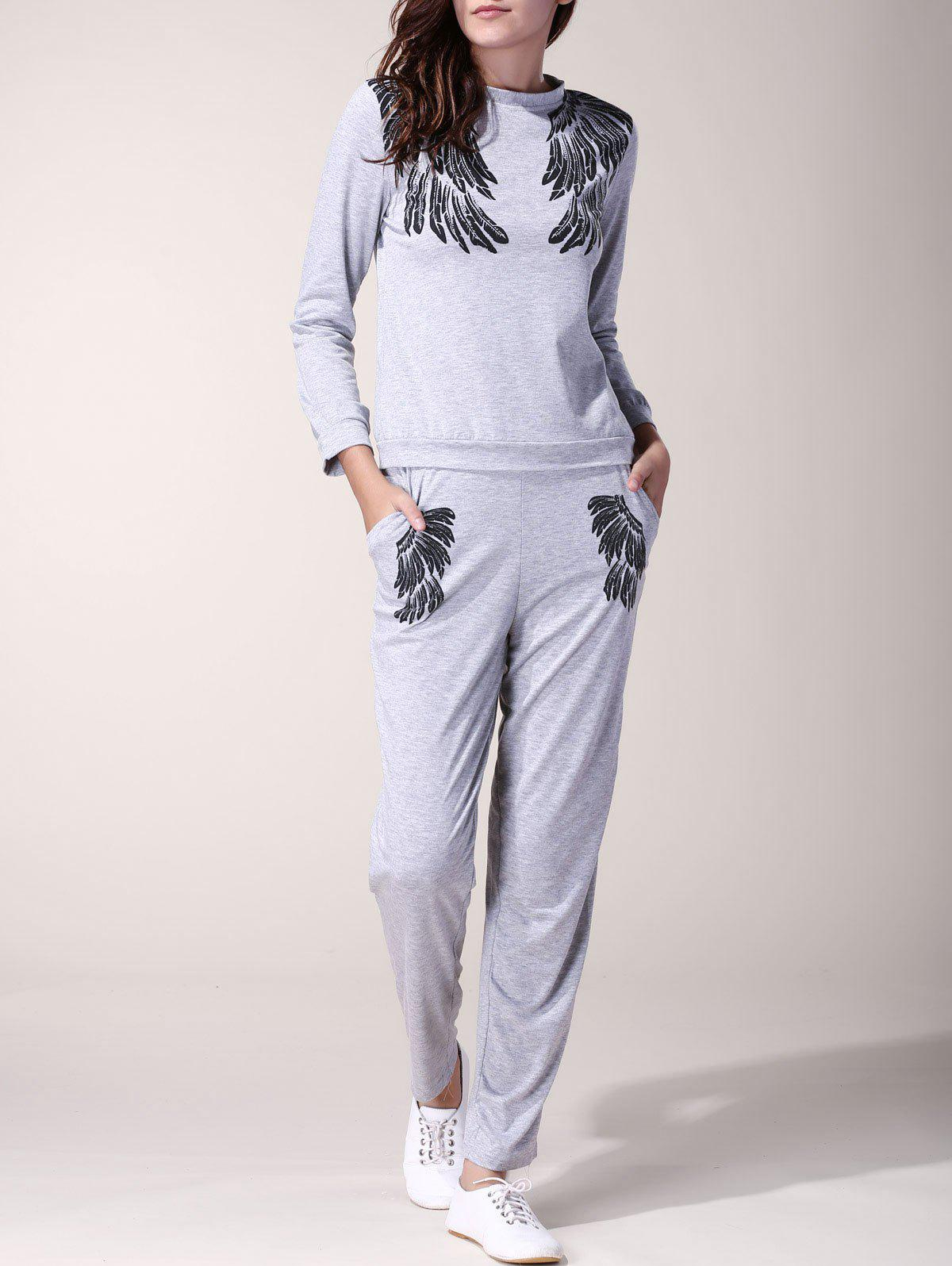 Casual Wings Printed Long Sleeve Pullover Sweatshirt and Jogger Pants Twinset For Women - GRAY S