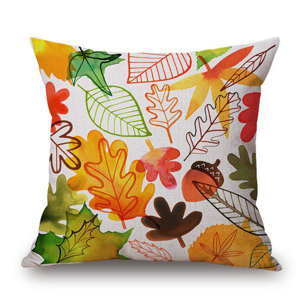 Rural Style Watercolor Maple Leaf Cotton and Linen Pillow Case(Without Pillow Inner) - COLORMIX