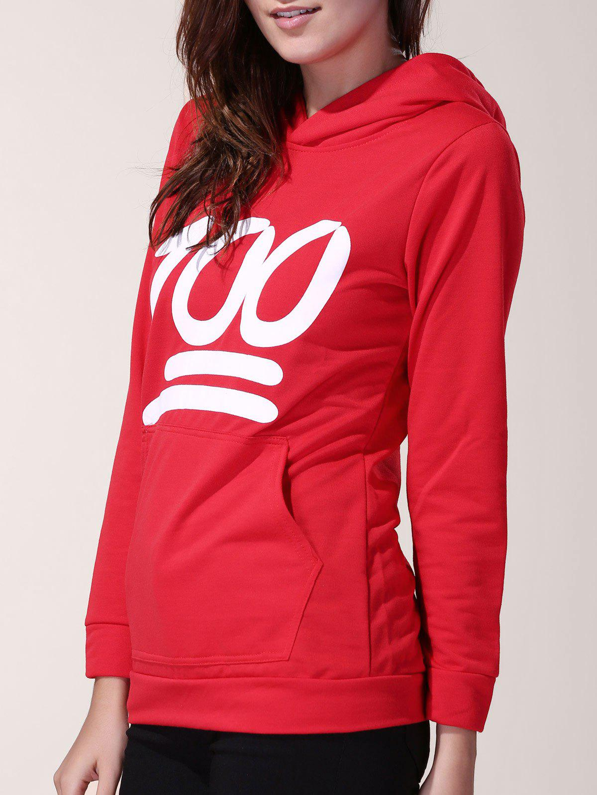 Stylish Long Sleeve Hooded Number 100 Print Women's Hoodie - RED S