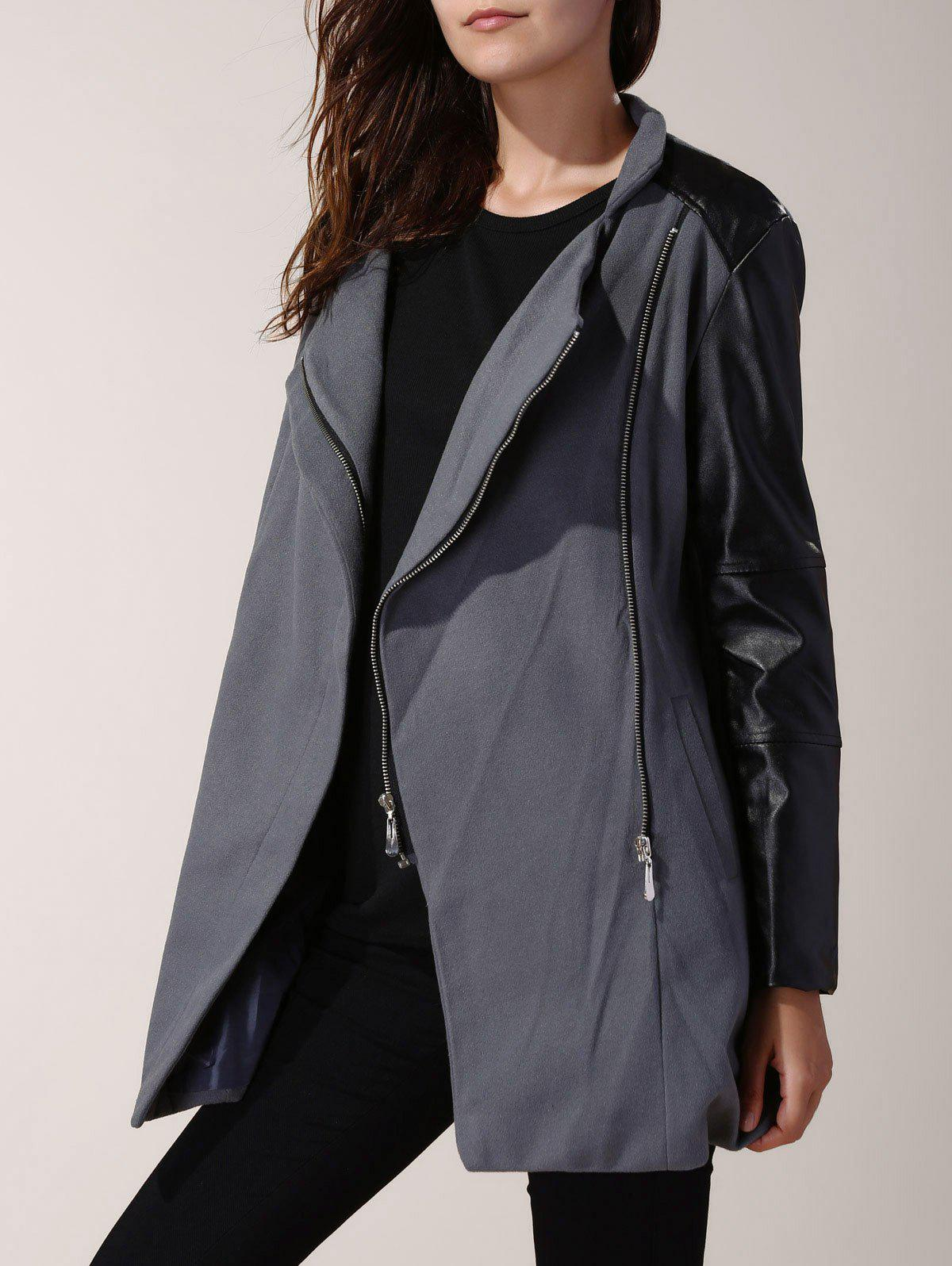 Charming Stand Collar Zippered Faux Leather Spliced Wool Coat For Women - GRAY XL