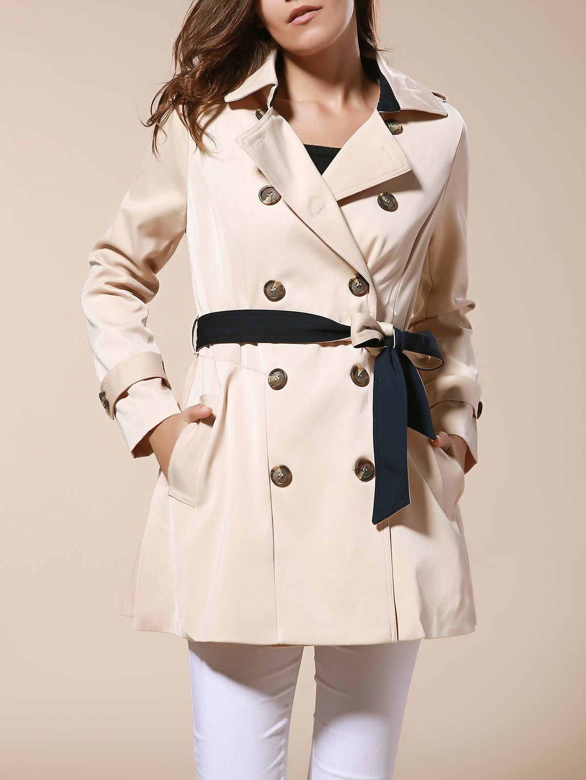 Solid Color Lapel Neck Double-Breasted Slimming Fashionable Women's Trench Coat - APRICOT M