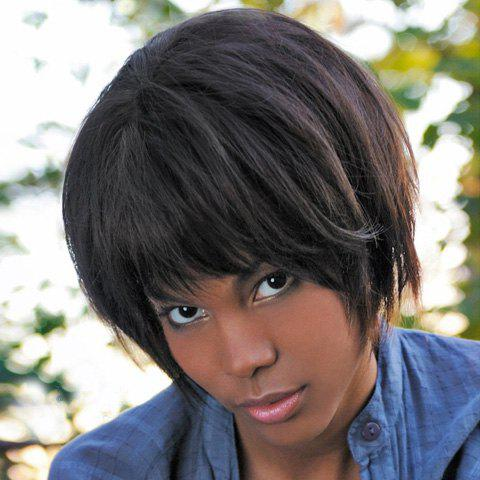 Stylish Full Bang Black Synthetic Short Haircut Straight Capless Wig For Women - BLACK