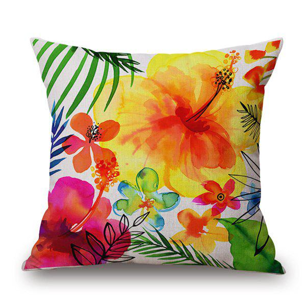 Watercolor Artistic Flowers and Plants Cotton and Linen Pillow Case(Without Pillow Inner) - COLORMIX