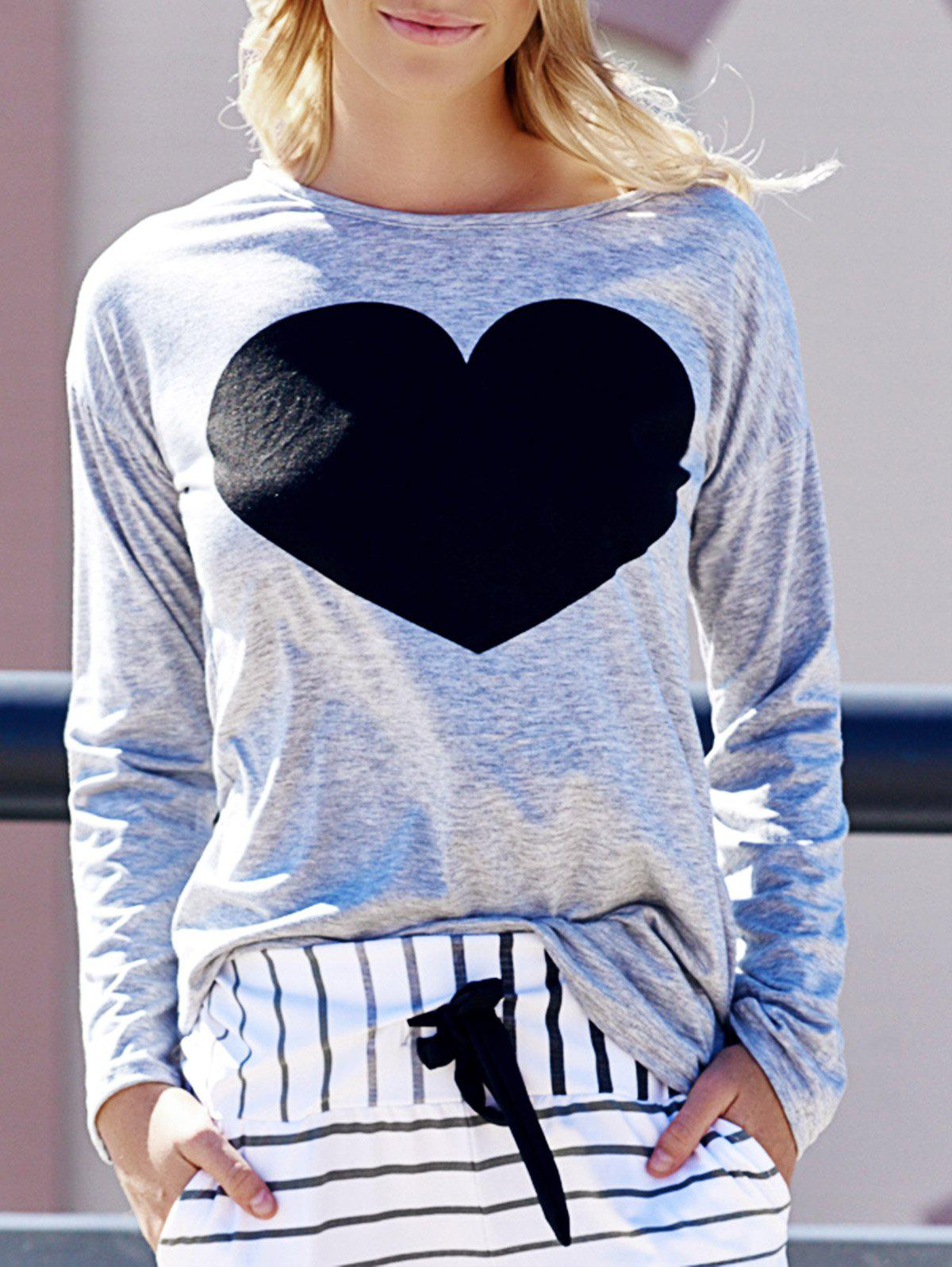 Women's Heart Pattern T-Shirt Long Sleeve Crew Neck Tops - LIGHT GRAY L