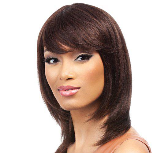 Charming Medium Layered Straight Synthetic Dark Brown Side Bang Capless Wig For Women - DEEP BROWN