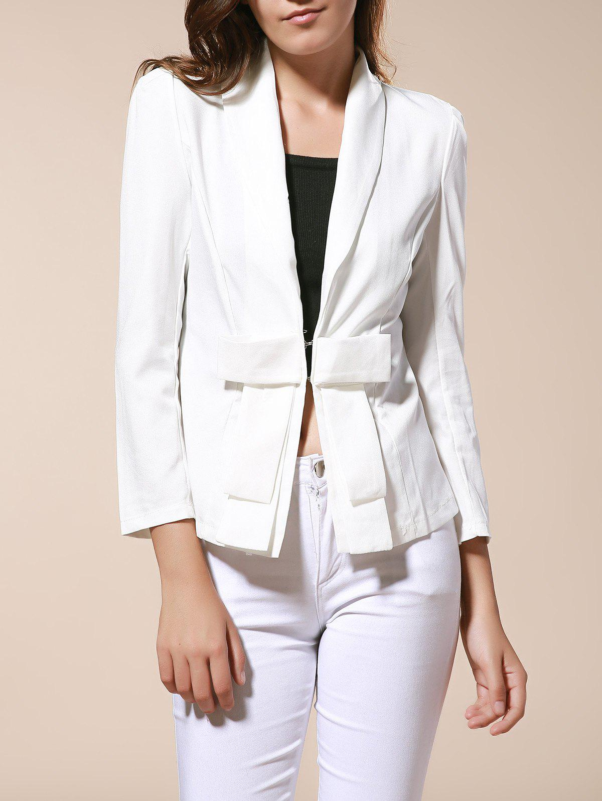 Elegant and Slim Bowknot White Long Sleeves Cotton Blend Fabric Coat For Women