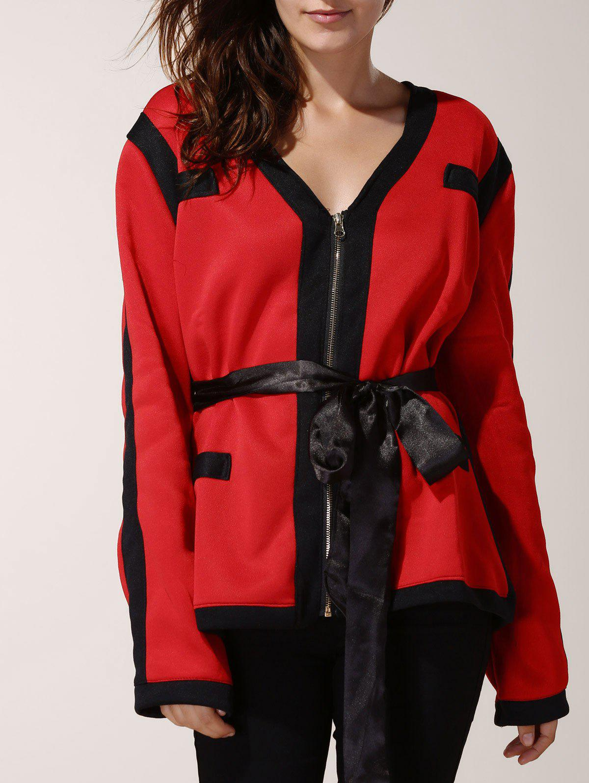 Stylish Women's V-Neck Long Sleeve Color Spliced Jacket - RED 3XL