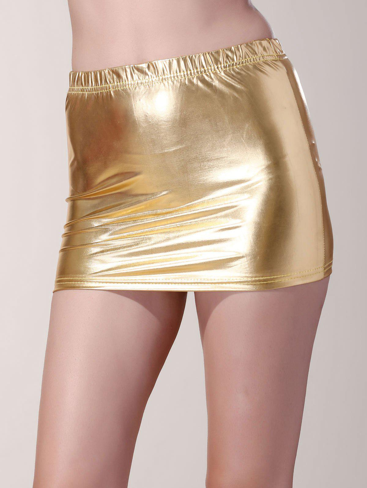 Stylish Low-Waist Solid Color Faux Leather Bodycon Mini Skirt For Women - GOLDEN ONE SIZE(FIT SIZE XS TO M)