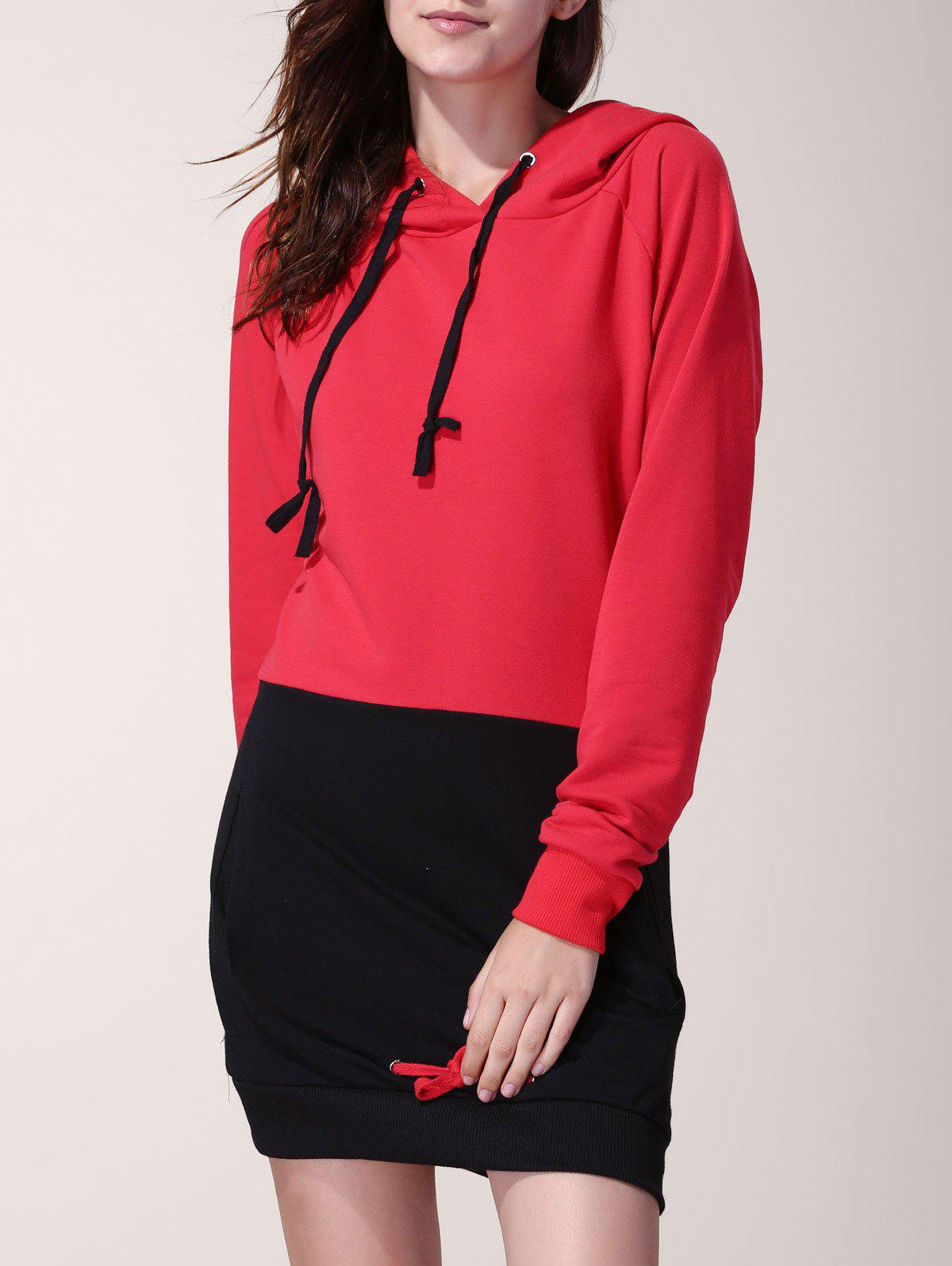 Chic Drawstring Hooded Hit Color Long Pullover Hoodie For Women - RED/BLACK XL