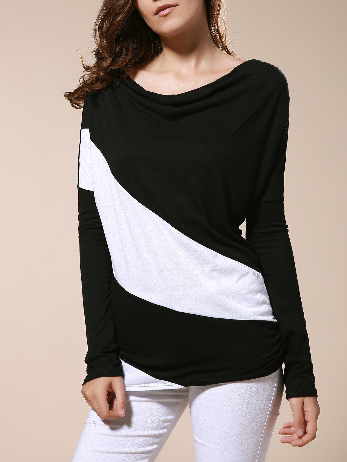 Color Matching Batwing Sleeve Cowl Neck Womens T-ShirtWomen<br><br><br>Size: S<br>Color: BLACK