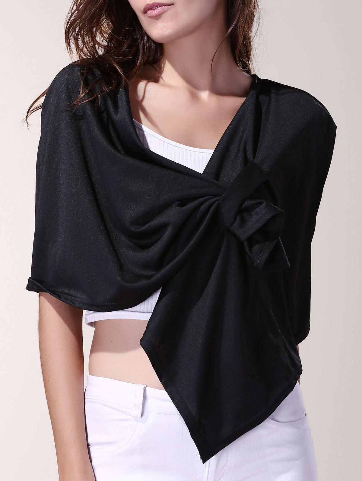 Vintage Pleated Solid Color Cloak Cape For Women - BLACK ONE SIZE(FIT SIZE XS TO M)