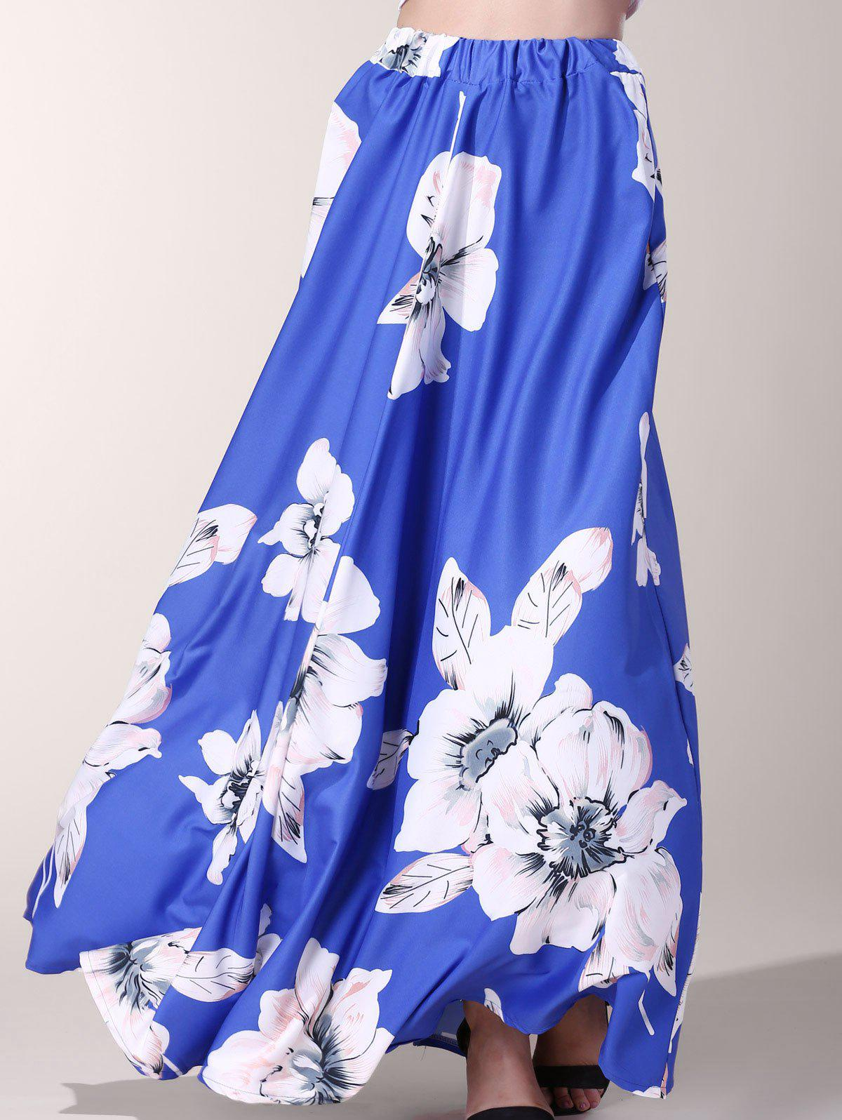 Stylish Floor-Length Flower Print Skirt For Women - BLUE S