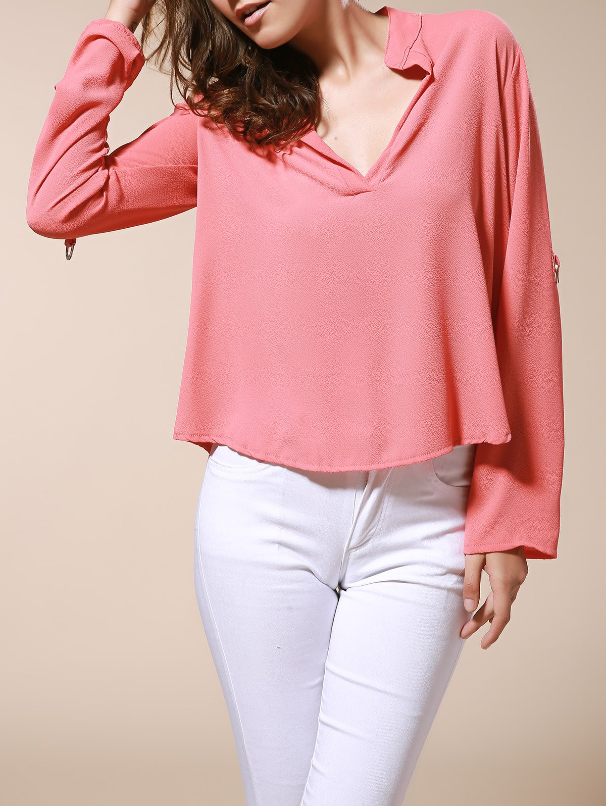 Simple Style Solid Color V-Neck 3/4 Sleeve Chiffon Blouse For Women at 0017