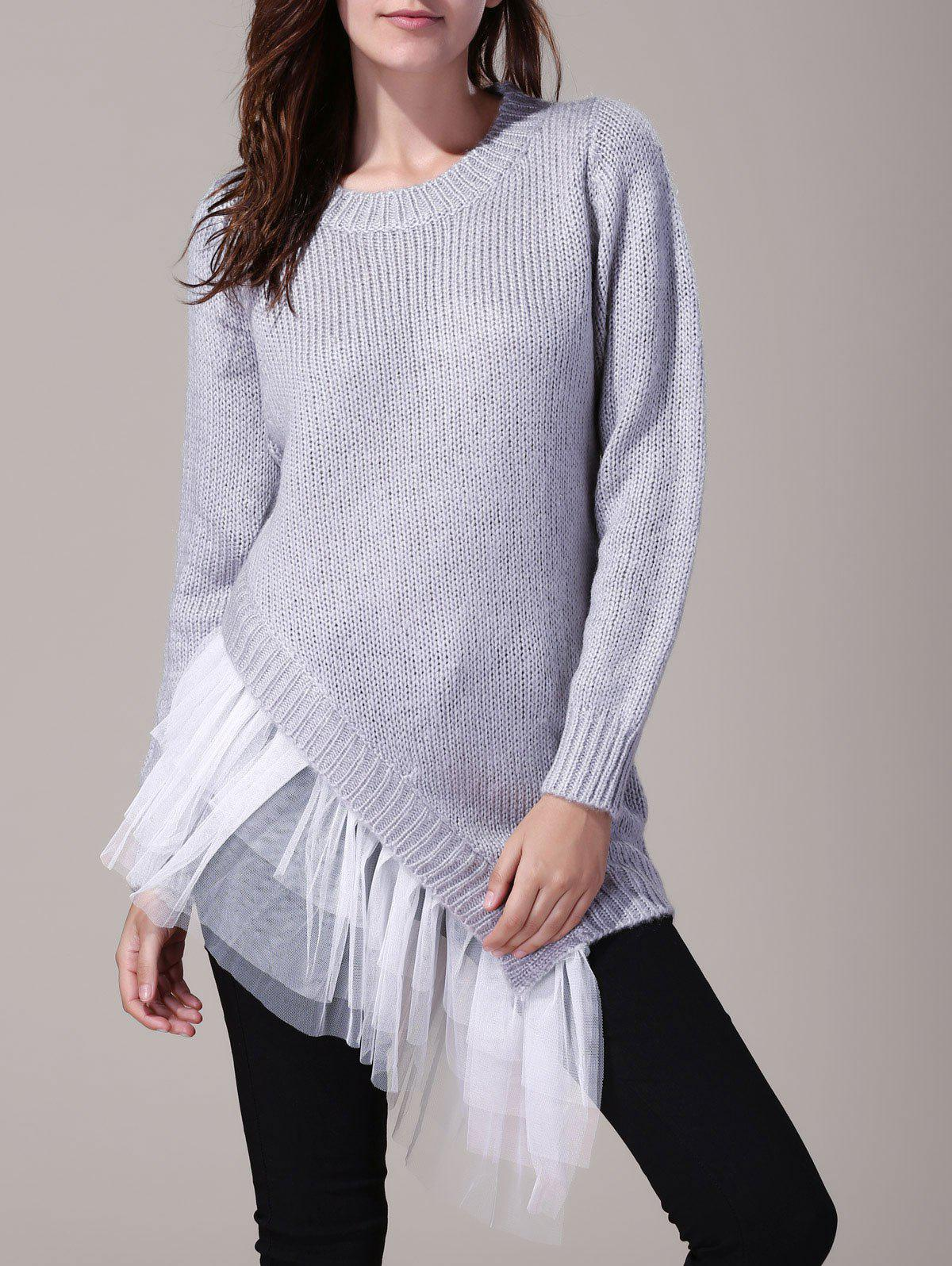 Round Neck Long Sleeve Lace Splicing Asymmetrical Sweater For Women - GRAY ONE SIZE(FIT SIZE XS TO M)