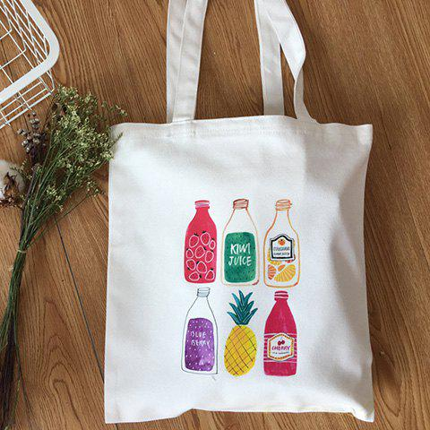 Casual Drink Print and Canvas Design Women's Shoulder Bag - WHITE