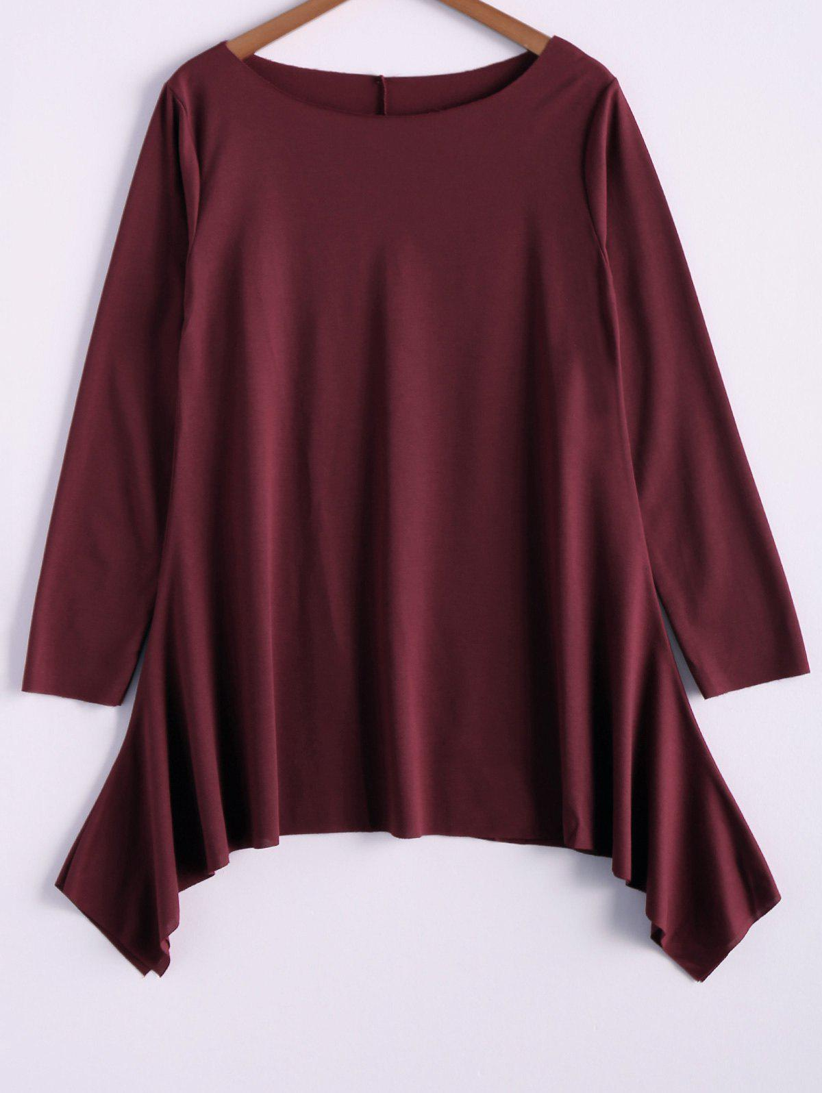Casual Skew Collar Long Sleeve T-Shirt For Women - WINE RED 2XL