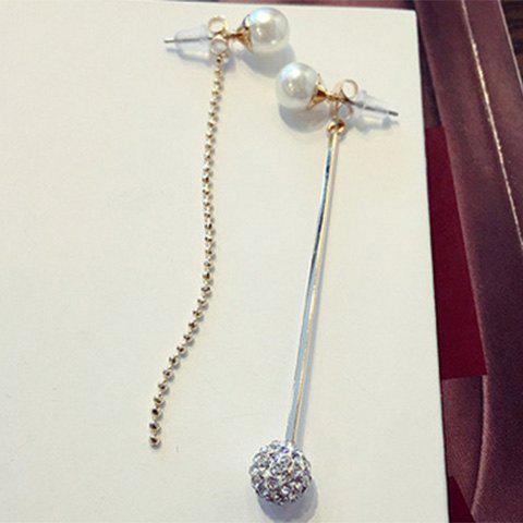 Pair of Charming Faux Pearl Rhinestone Ball Earrings For Women