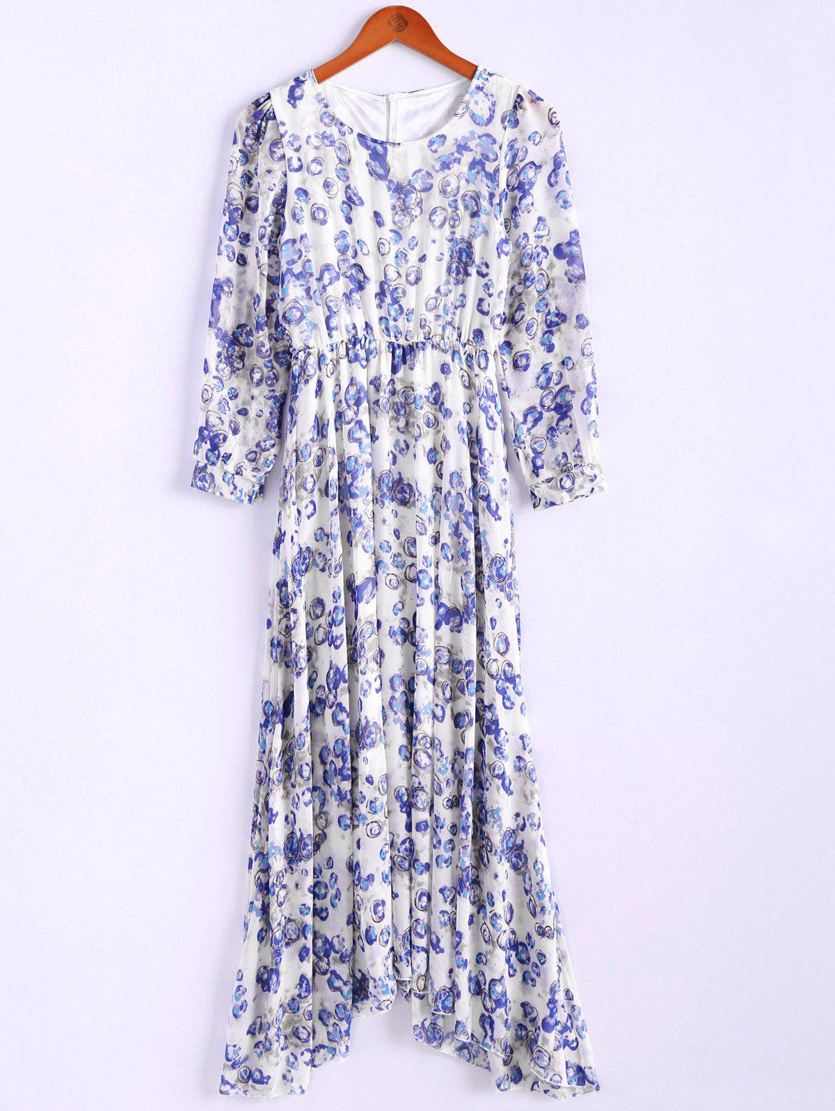 Bohemian Style Round Collar Long Sleeve Tiny Floral Print Chiffon Spring Dress For Women - BLUE M