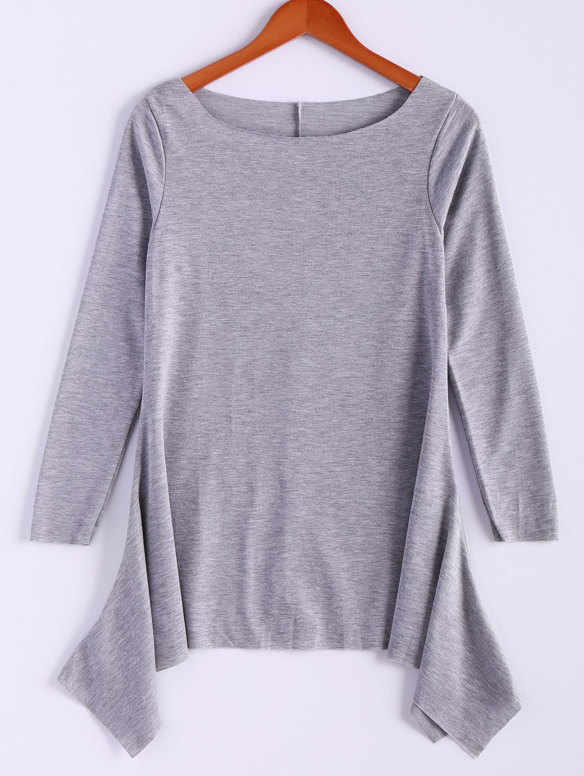 Casual Skew Collar Long Sleeve T-Shirt For Women - GRAY S