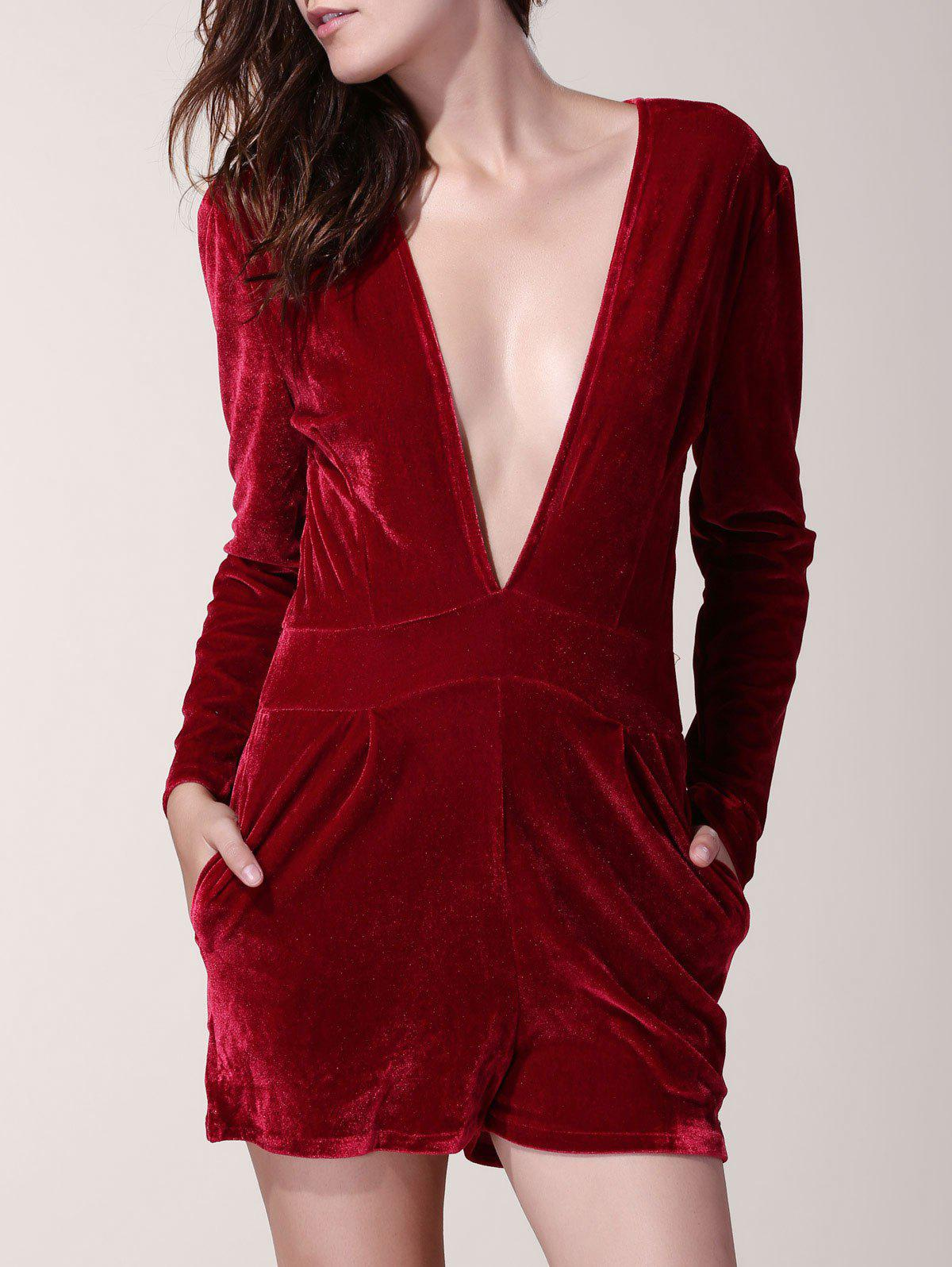 Plunging Neck Long Sleeve Pure Color Romper For Women - WINE RED S