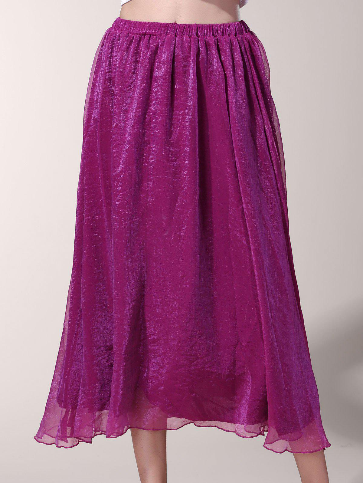 Chic Elastic Waist Chiffon Pure Color Women's Maxi Skirt - PURPLE L