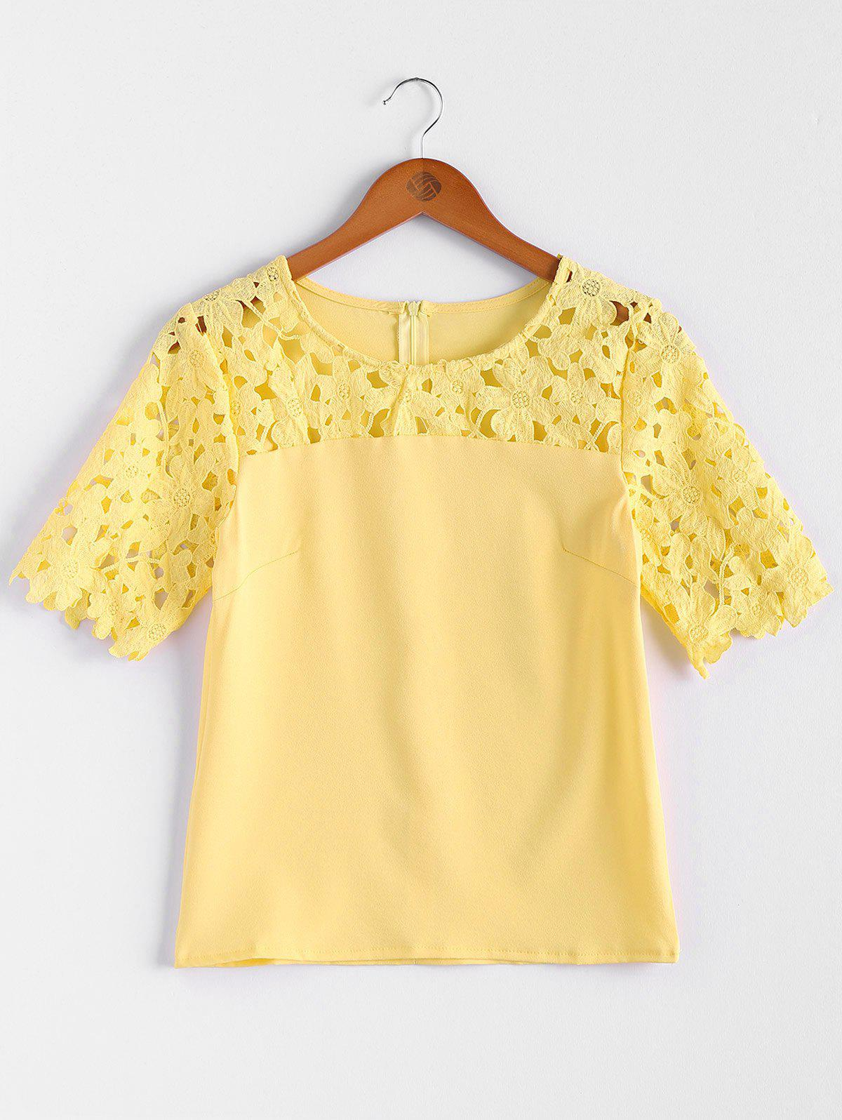 Crochet Flower Hollow Out Splicing Jewel Neck Solid Color Stylish Women's Blouse - YELLOW XL