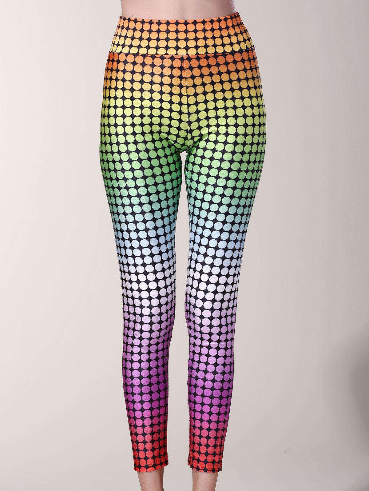 Charming Colorful Polka Dot Print Ankle Sport Pants For Women - COLORMIX M