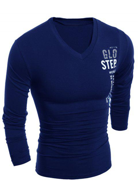 Slimming V-Neck Vogue Letter Print Long Sleeve Polyester Men's T-Shirt - CADETBLUE 2XL