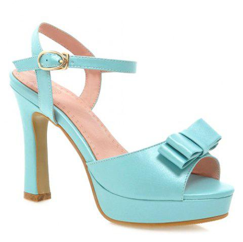 17% OFF  2019 Bowknot Chunky Heel Sandals In LIGHT BLUE 39 ...