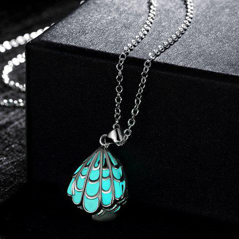 Hollow Out Seashell Shape Carve Luminescent Faux Gem Necklace - CYAN