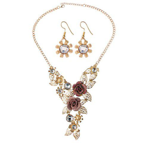 A Suit of Rose Hollow Out Leaf Faux Gem Necklace and Earrings - GOLDEN