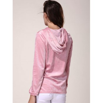 Trendy Hooded Ribbon Lace-Up Pullover Hoodie For Women - SHALLOW PINK XL
