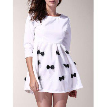 3/4 Sleeve Scoop Neck Bowknot Decorated Dress For Women