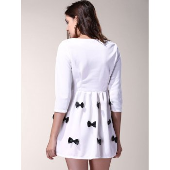 3/4 Sleeve Scoop Neck Bowknot Decorated Dress For Women - S S