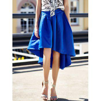 Stylish High-Waisted Pure Color Ruffled Asymmetrical Women's Skirt - BLUE BLUE