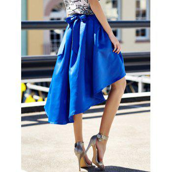 Stylish High-Waisted Pure Color Ruffled Asymmetrical Women's Skirt - L L