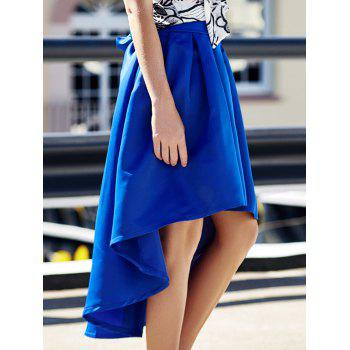 Stylish High-Waisted Pure Color Ruffled Asymmetrical Women's Skirt - BLUE L