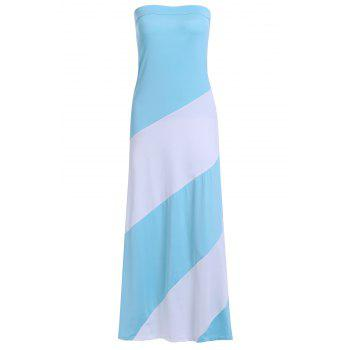 Allluring Color Block Strapless Women's Club Dress