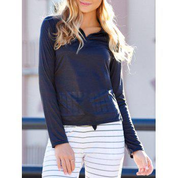 Casual Women's Polo Collar Long Sleeves Solid Color T-Shirt