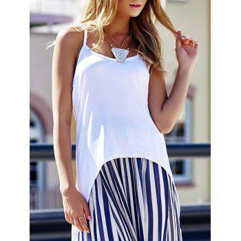 Stylish Spaghetti Strap High-Low Hem Criss-Cross Women's Tank Top