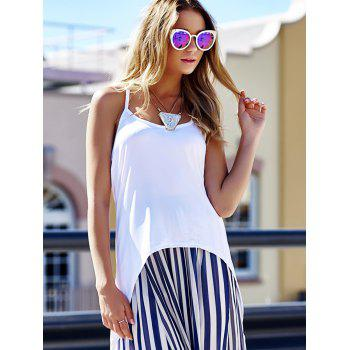 Stylish Spaghetti Strap High-Low Hem Criss-Cross Women's Tank Top - WHITE L