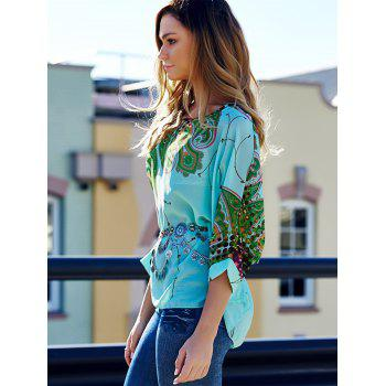 Scoop Neck Batwing Sleeve Printed Loose-Fitting Blouse For Women - COLORMIX COLORMIX