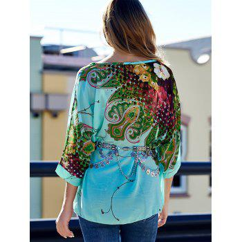 Scoop Neck Batwing Sleeve Printed Loose-Fitting Blouse For Women - XL XL