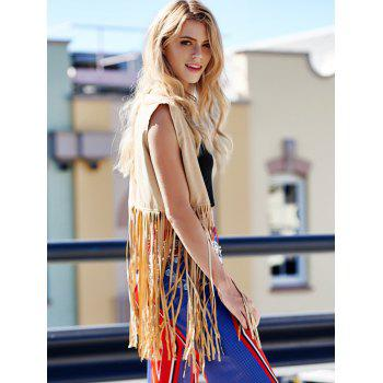 Trendy Collarless Sleeveless Fringe Design Solid Color Women's Waistcoat - BROWN ONE SIZE(FIT SIZE XS TO M)