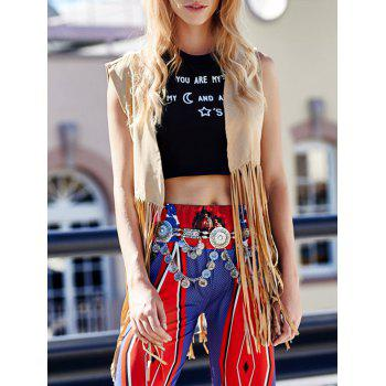 Trendy Collarless Sleeveless Fringe Design Solid Color Women's Waistcoat